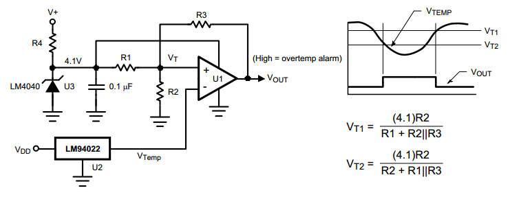 схема простого термостата с гистерезисом.