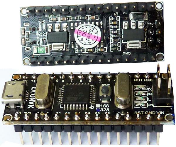Arduino nano с двумя регуляторами 3.3 и 5 вольт Black Edition
